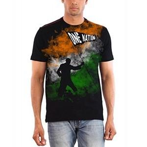 Huetrap Men's India One Nation Black Flag T Shirt
