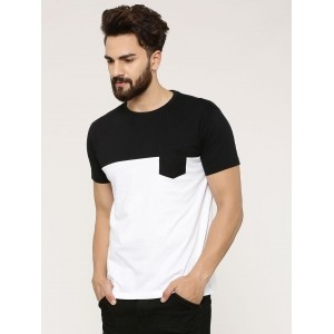 Spring Break Men's Black & White Color Block T-Shirt With Patch Pocket