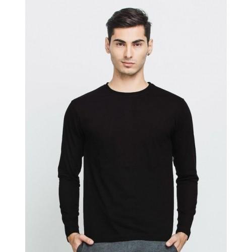 882d120cf0e Buy Bewakoof Men s Jet Black Plain Full Sleeve T-Shirt online ...