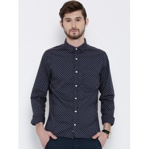 United Colors of Benetton Navy Blue Casual Shirt With Polka Dot Print