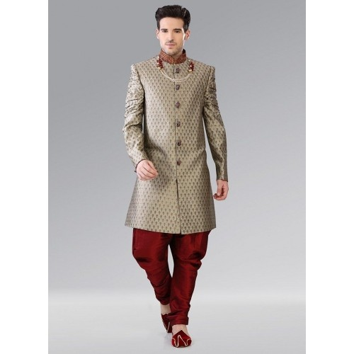 9fbd8a7800 Buy Cbazar Grey Brocade Indowestern Patiala Style Sherwani online ...