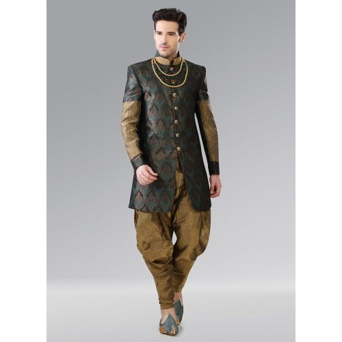 cd7544d1f7 Buy Cbazaar Golden Brocade Indo western Sherwani online | Looksgud.in