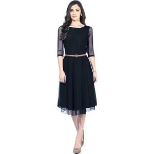 19 Likes Black Soft Net A-line Knee Length Dress
