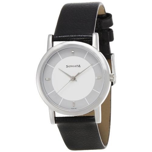 Sonata 7987SL01 Black Leather Analog Dial Watch