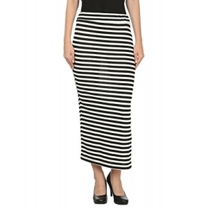 My Swag Black & White Hosiery Straight Casual Straight Skirt