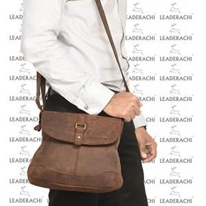 Leaderachi Brown Genuine Leather Handmade Unisex Sling Bag