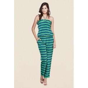 Yepme Elisha Green & Blue Striped Jumpsuit