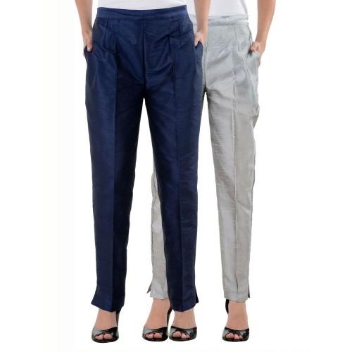 664d9c1020d549 ... NumBrave MultiColor Raw Silk Solid Casual Combos Pants ...