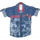 Kidzee Boys Blue Printed Casual Shirt