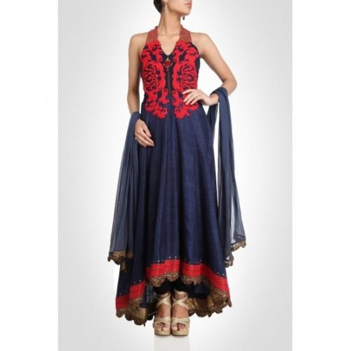 Blue Halter Neck Anarkali With Embroidery