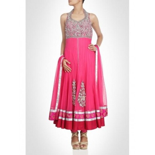 Pink Anarkali Enriched With Diamantes