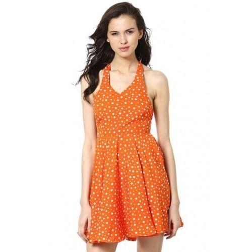 Haulter Neck Dress In Polka Dot