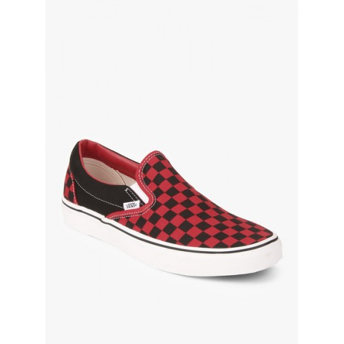7297c3a3db0 Buy VANS Red   Black Canvas Slip-On Casual Shoes online