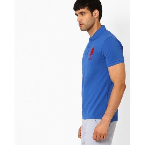 U.S. Polo Assn Blue Cotton  Solid Polo Neck T-Shirt