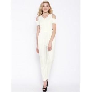 Vero Moda Off-White Cold Shoulder Jumpsuit