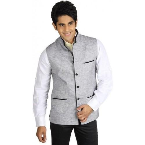 Akaas Men's Gray Solid Sleeveless Waistcoat