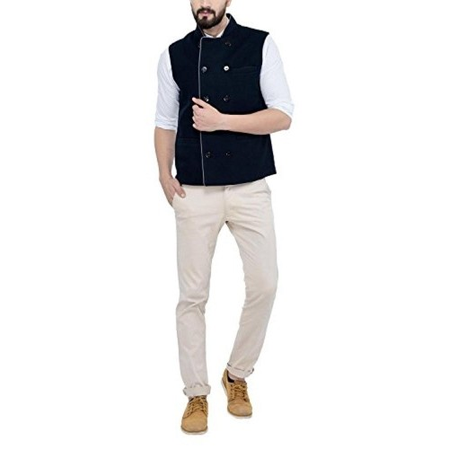 Owncraft Navy Blue Woolen Double Breasted Nehru Jacket
