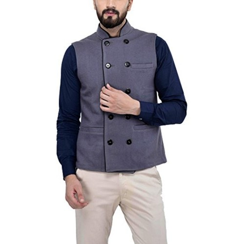Owncraft Grey Wool Double Breasted Sleeveless Nehru Jacket