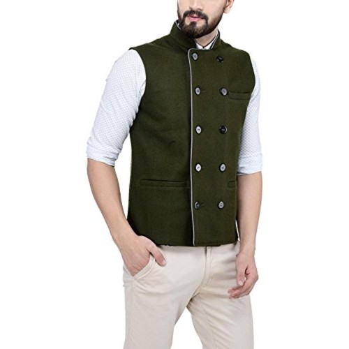 Owncraft Olive Green Wool Double Breasted Nehru Jacket