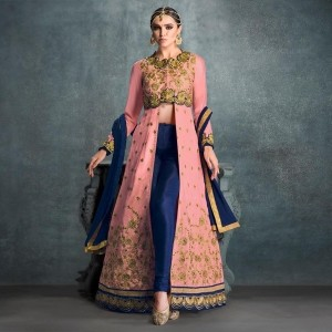 Pink And Blue Georgette Embroidered Front Open Anarkali Suit
