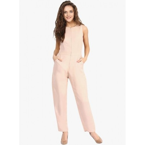 Miss Chase Beige Solid Jumpsuit
