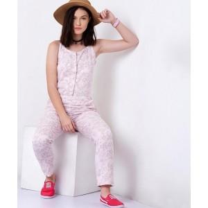 Yepme Alice Pink Printed Linen Jumpsuit