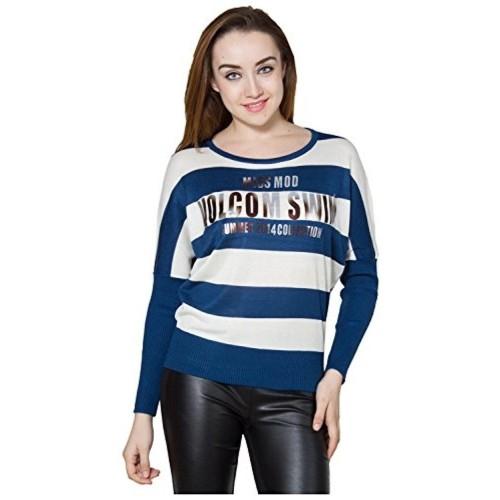 Throwkart Navy Blue & Off White Striped Printed Woolen Top