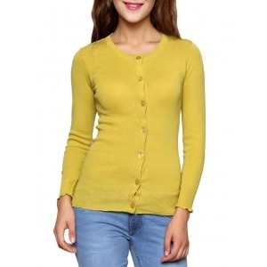 Renka Yellow Solid Long Sleeves Round Neck Cardigan