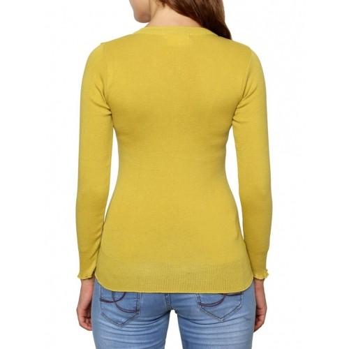 Renka Yellow Solid Long Sleeves Round Neck Cardigan