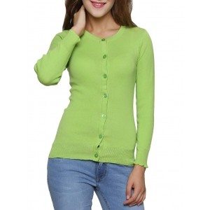 Renka Green Solid Long Sleeves Round Neck Cardigan