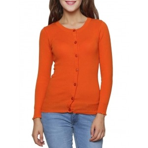 Renka Orange Solid Long Sleeves Round Neck Cardigan