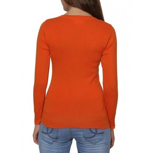 Renka Orange Solid Long Sleeves Round Neck Cardigan