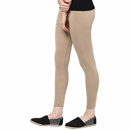 LGRL Beige Solid Thermal Leggings