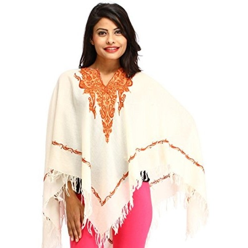 Exotic India Off White Paisely Embroidered Poncho