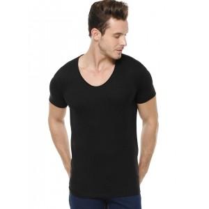 Blue Saint Black Cotton Exclusive Scoop Neck Men T-Shirt