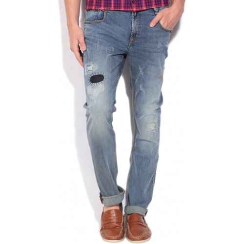 Lee Blue Denim Patch Work Washed Skinny Fit Jeans