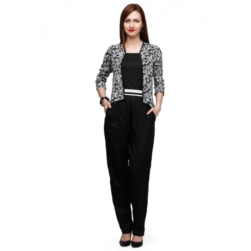 14a74c720a2 Buy Eavan Black Poly Cotton Printed Jacket Styl Jumpsuit online ...