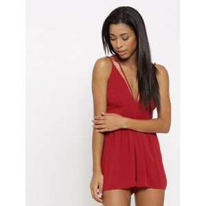 Forever 21 Red Rayon & Cotton Criss-Cross Back Playsuit