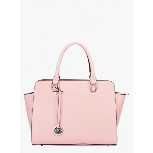 Diana Korr Pink Plain Polyurethane Handbag