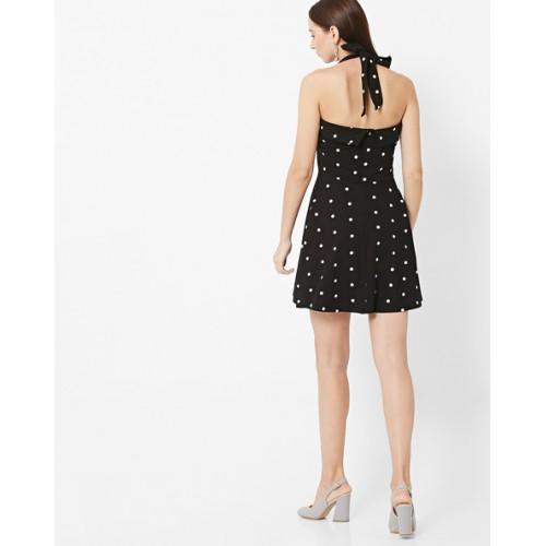 FabAlley Black Cotton Polka Dot Print Skater Dress
