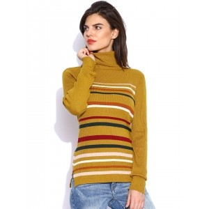 ONLY Mustard Yellow Viscose Striped Sweater