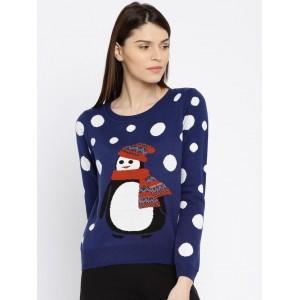 ONLY Women Navy Blue Self-Design Sweater