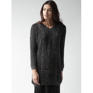 ALCOTT Charcoal Grey Cotton Self-Design Knitted Sweater