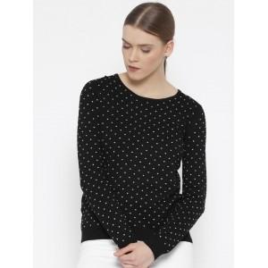 MANGO Black & White Viscose Polka Printed Patterned Sweater