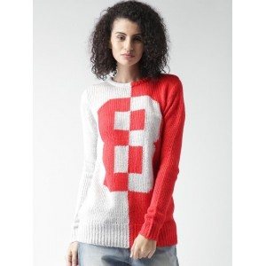 ALCOTT Red & White Acrylic Colourblocked Sweater