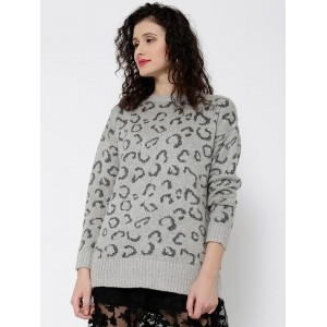 MANGO Grey Melange Acrylic Polyester Animal Pattern Sweater