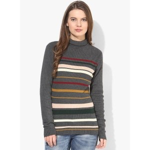 Only Grey Striped High Neck Long Sleeves Sweater