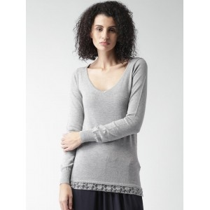 ALCOTT Grey Melange Viscose Polyamide Solid Sweater
