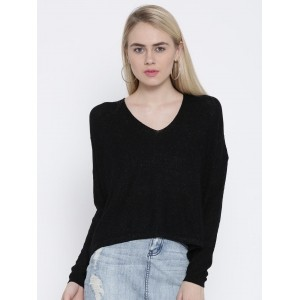 MANGO Black Cotton Solid Shimmer High-Low Sweater