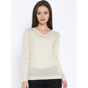 MANGO Beige Viscose Knitted Sweater